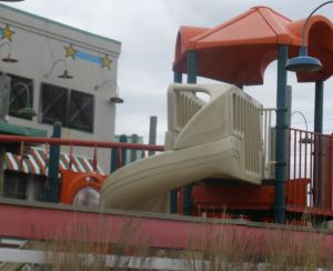 The abandoned Joe's Crab Shack Playland.